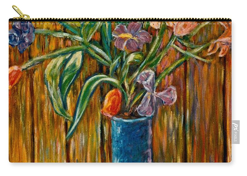 Vase Of Flowers Carry-all Pouch featuring the painting Tall Blue Vase by Kendall Kessler