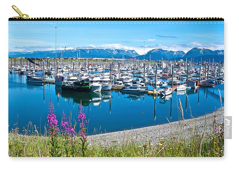 Tall Fireweed Carry-all Pouch featuring the photograph Tall Fireweed By The Marina Along Homer Spit-ak by Ruth Hager