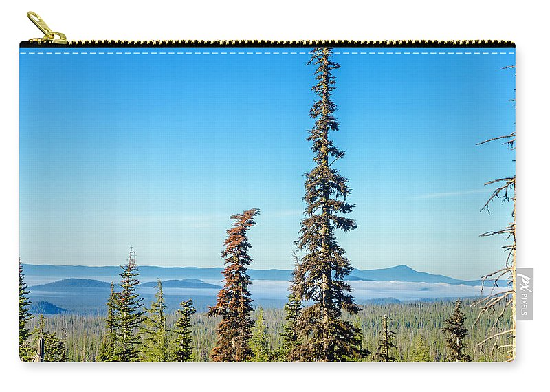 Forest Carry-all Pouch featuring the photograph Tall Pine Trees And Hilly Background by Jess Kraft