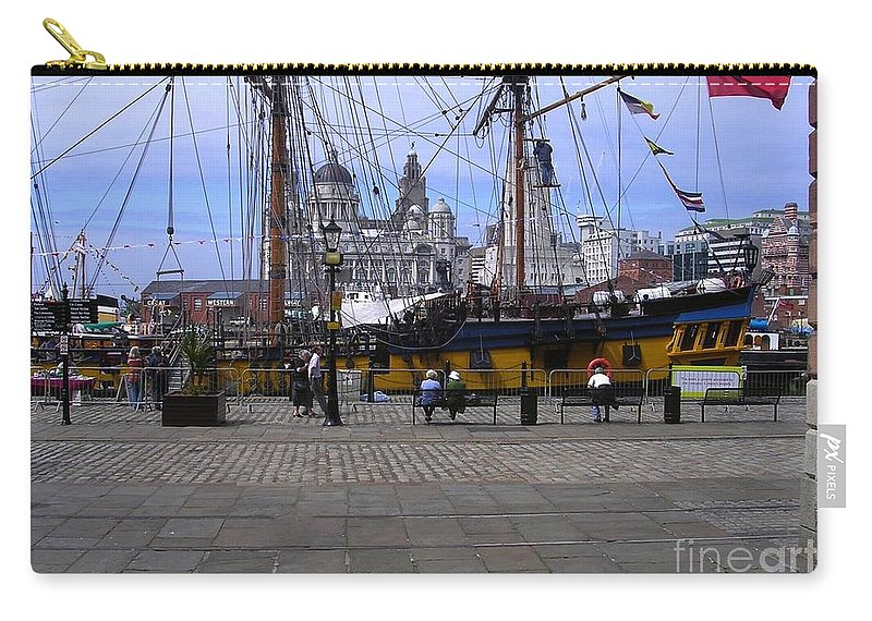 Tall Ships Carry-all Pouch featuring the photograph Tall Ship At Albert Dock 2 by Joan-Violet Stretch