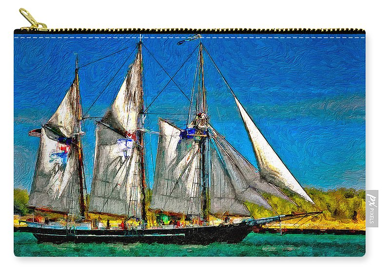 Tall Ship Carry-all Pouch featuring the photograph Tall Ship Paint by Steve Harrington