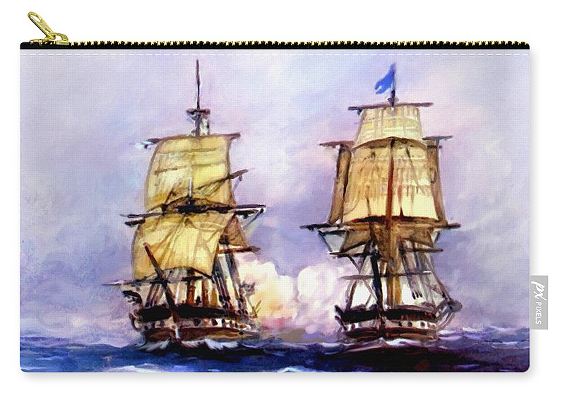 11 July Carry-all Pouch featuring the painting Tall Ships Uss Essex Captures Hms Alert by Bob and Nadine Johnston