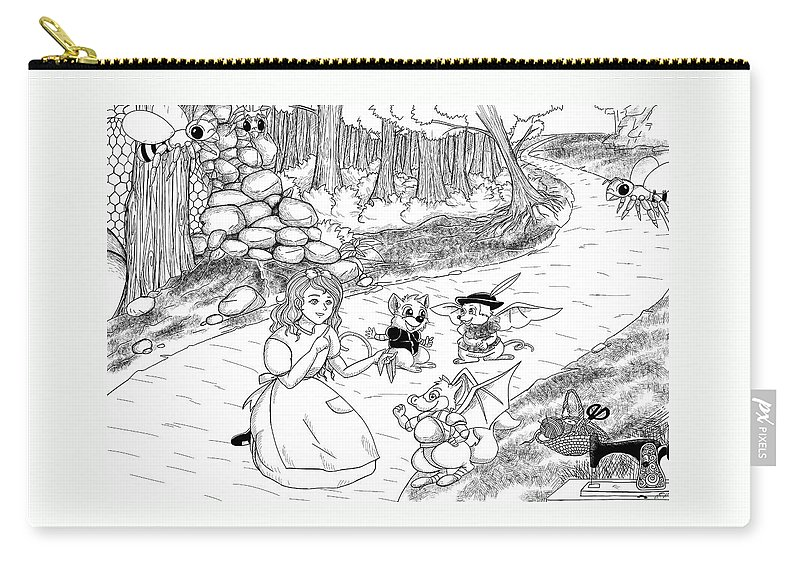 Wurtherington Carry-all Pouch featuring the drawing Tammy Meets Cedric The Opossum by Reynold Jay