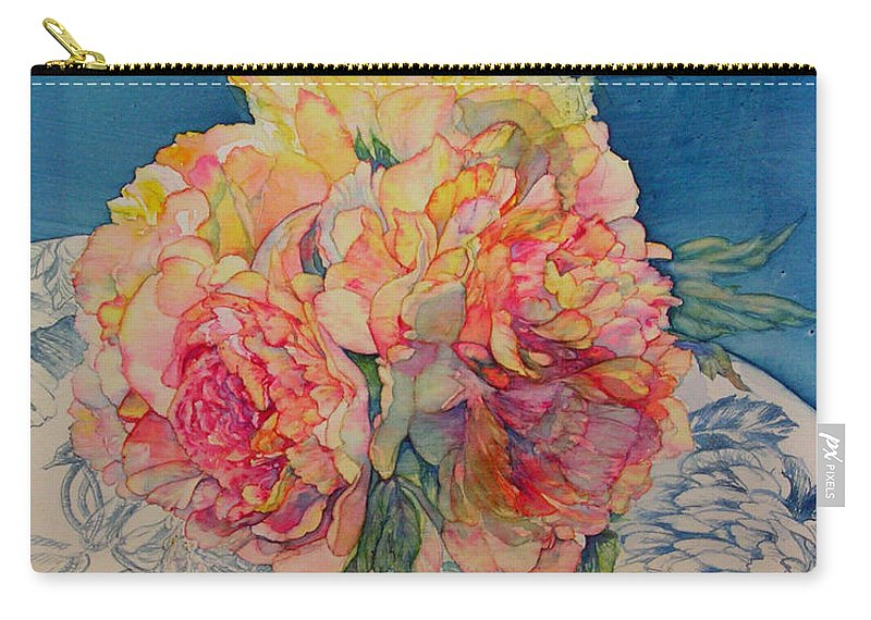 Floral Carry-all Pouch featuring the painting Tammy's Bowl 2 by Annika Farmer