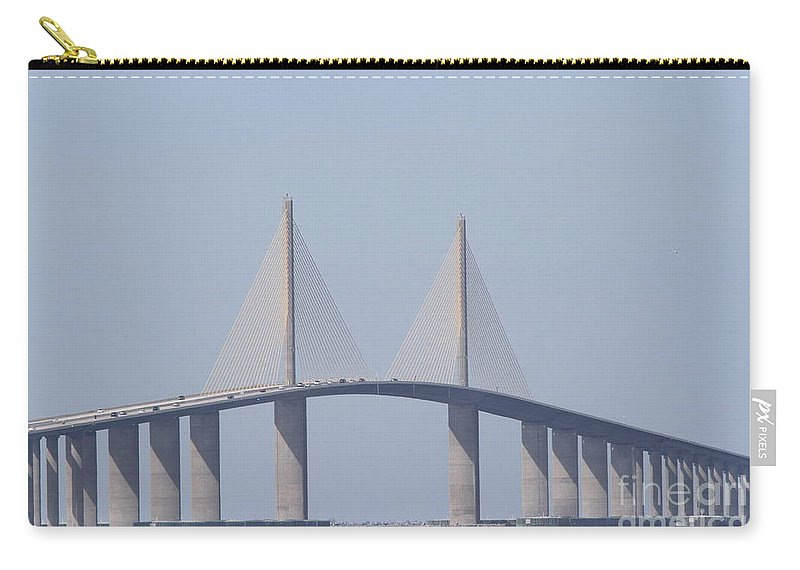 Bridge Carry-all Pouch featuring the photograph Tampa Sky Way Bridge by Christiane Schulze Art And Photography