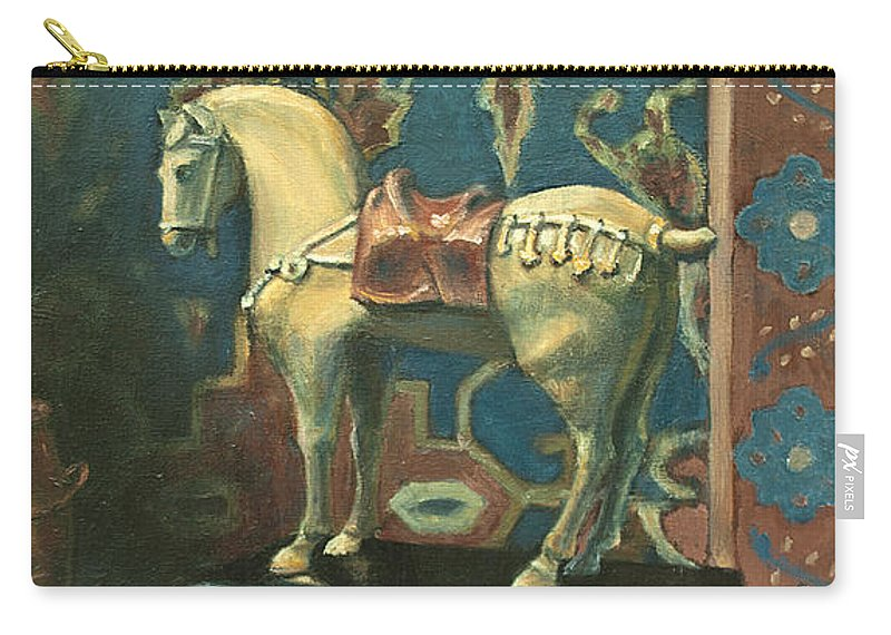 Painting Carry-all Pouch featuring the painting Tang Horse by Sarah Parks