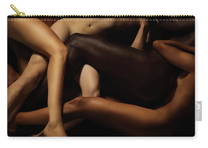 Young Men Carry-all Pouch featuring the photograph Tangled Human Bodies Of Different Skin by Jonathan Knowles