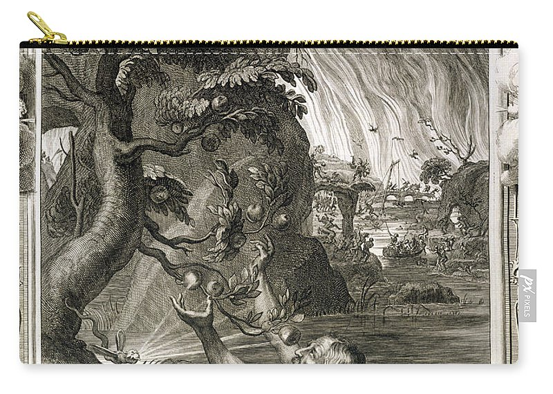 Tantalus Carry-all Pouch featuring the drawing Tantalus Torment, 1731 by Bernard Picart