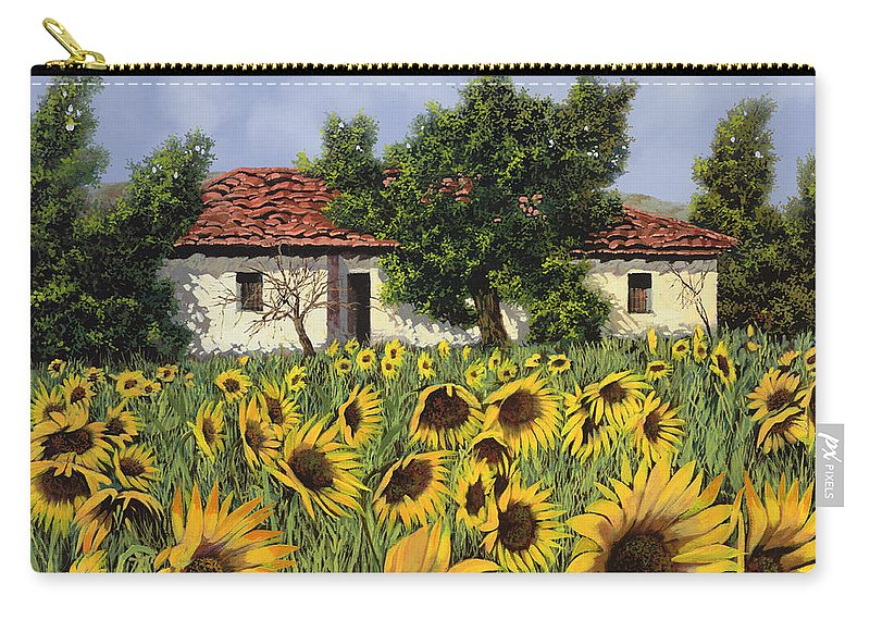 Tuscany Carry-all Pouch featuring the painting Tanti Girasoli Davanti by Guido Borelli