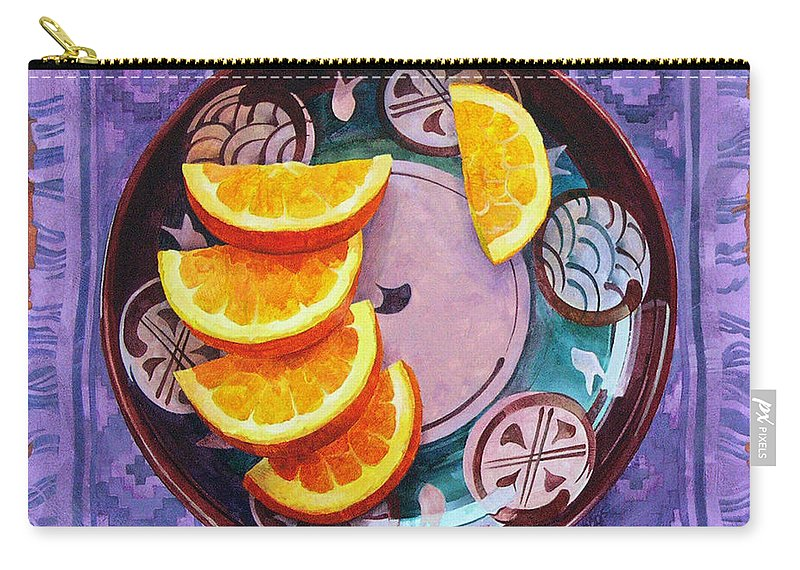 Orange Carry-all Pouch featuring the painting Tao Of Orange by Dianne Bersea
