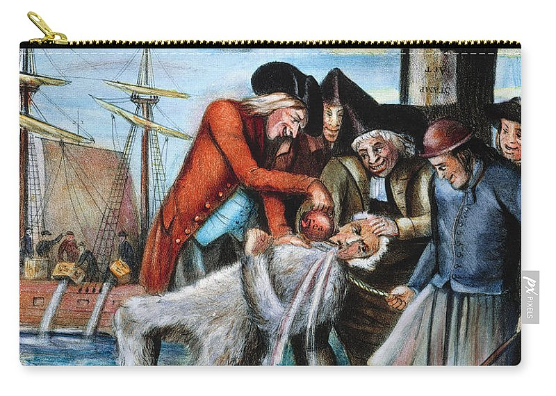 1773 Carry-all Pouch featuring the photograph Tarring & Feathering, 1773 by Granger
