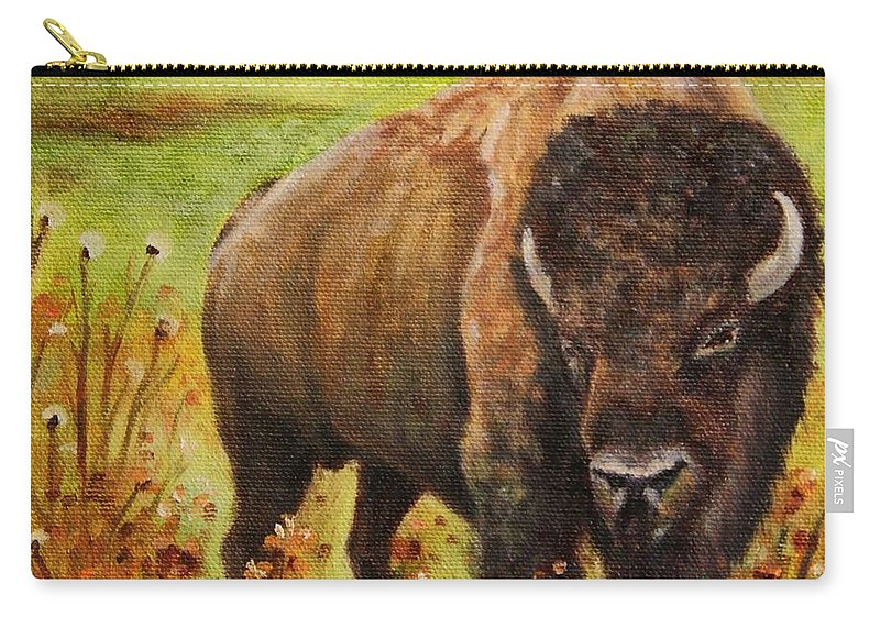 Bison Carry-all Pouch featuring the painting Tatanka, Buffalo by Sandra Reeves