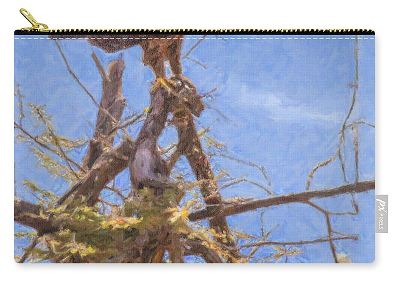 Tawny Eagle Carry-all Pouch featuring the digital art Tawny Eagle Aquila Rapax Calling From Acacia Bush by Liz Leyden