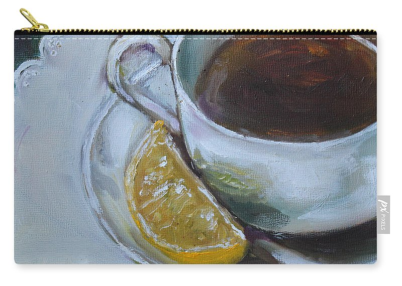 Tea Carry-all Pouch featuring the painting Tea And Lemon by Kristine Kainer