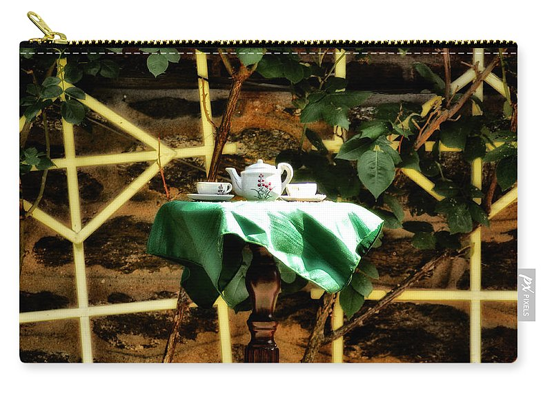 Tea Carry-all Pouch featuring the photograph Tea In The Backyard by Bill Cannon