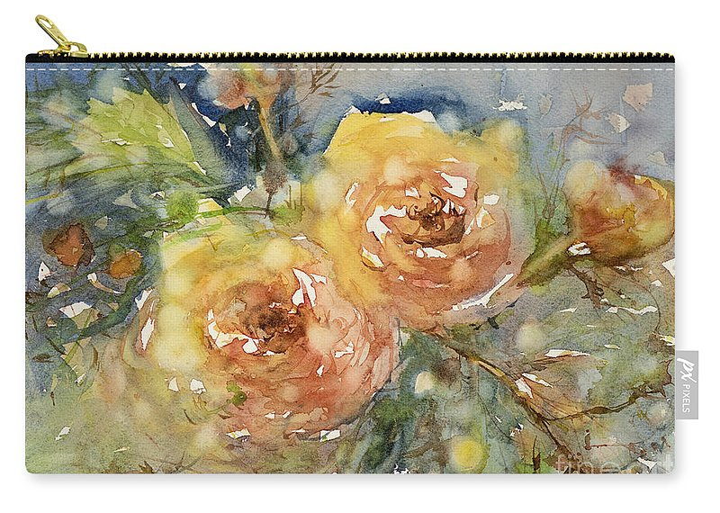 Rose Carry-all Pouch featuring the painting Tea Roses by Judith Levins