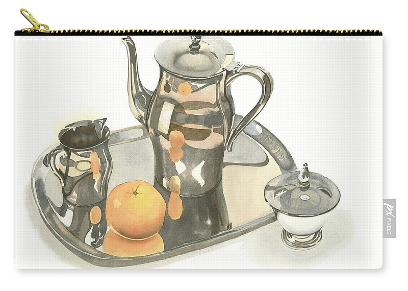 Tea Service With Orange Carry-all Pouch featuring the painting Tea Service With Orange by Kip DeVore