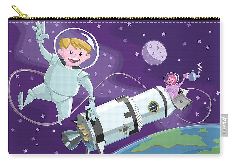 Space Carry-all Pouch featuring the painting Tea Time Space Walk by Martin Davey