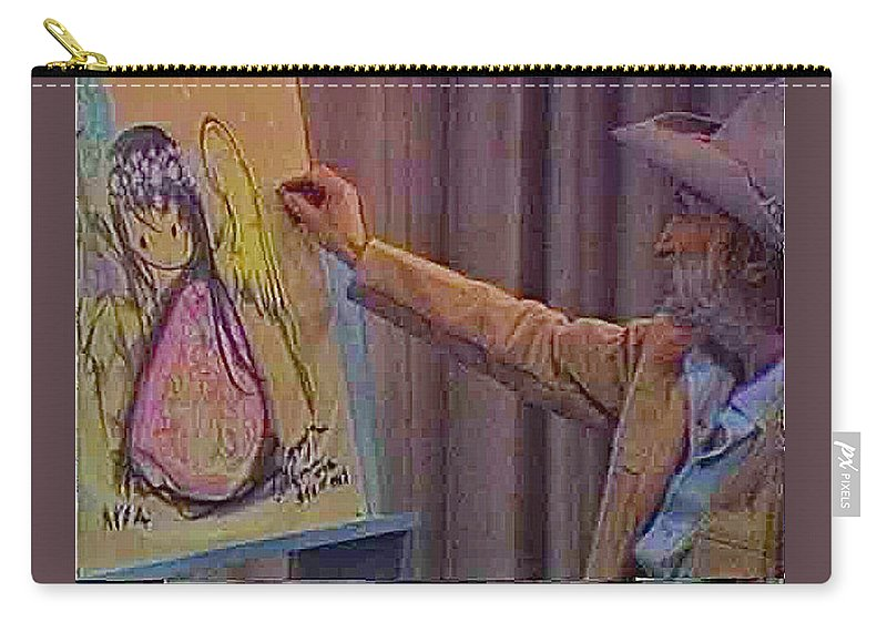 Ted Degrazia Drawing Angel Kvoa Tv Studio Screen Capture Christmas 1967 Carry-all Pouch featuring the photograph Ted Degrazia Drawing An Angel On Camera Kvoa Tv Screen Capture Christmas 1967 by David Lee Guss