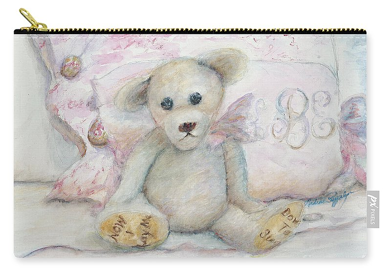 Teddy Bear Carry-all Pouch featuring the painting Teddy Friend by Nadine Rippelmeyer