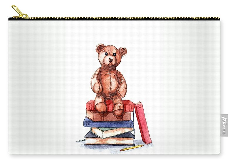 Teddy Bear Watercolor Storybook Carry-all Pouch featuring the painting Teddy On Books by Margaret Schons