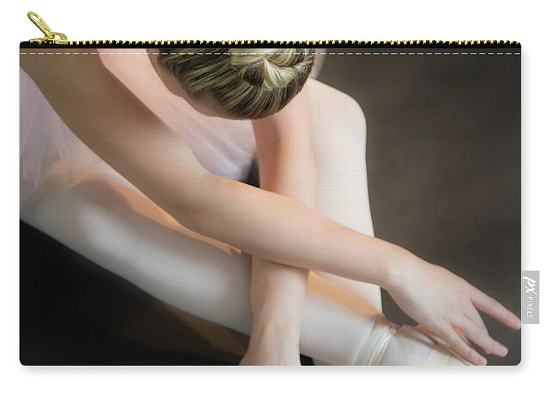 Ballet Dancer Carry-all Pouch featuring the photograph Teenage 16-17 Ballerina Bending Over by Jamie Grill