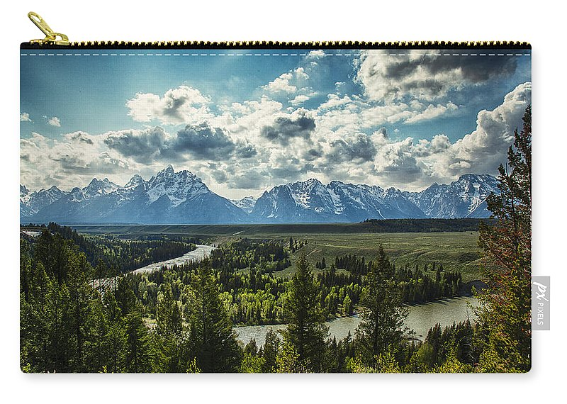 River Carry-all Pouch featuring the photograph Teewinot And The Snake by Jack R Perry