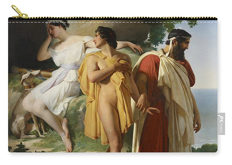 Telemachus; Eucharis; The Adventures Of Telemachus; Odyssey; Literature; Scene; Characters; Greek; Myth; Mythology; Mythological; Legend; Hero; Journey; Love; Lovers; Male; Female; Nymph; Mentor; Young; Innocence; Grief; Tragic; Parting; Parted; Departing; Farewell; Goodbye; Leaving; Leading; Looking Back; Heartbroken; Heartbreak; Romance; Romantic; Classical; Connection; Sorrow; Sad; Sadness; Dog; Pet; Domestic Animal; Landscape; Nude; Drapery; Gesture; Head In Hand;emotion; Emotions; Emotional Carry-all Pouch featuring the painting Telemachus And Eucharis by Raymond Quinsac Monvoisin