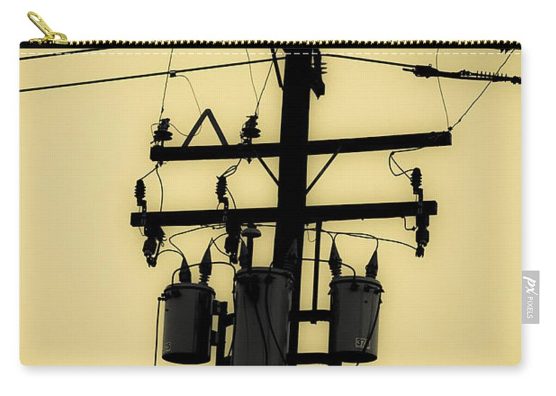 Telephone Pole Carry-all Pouch featuring the photograph Telephone Pole 3 by Scott Campbell