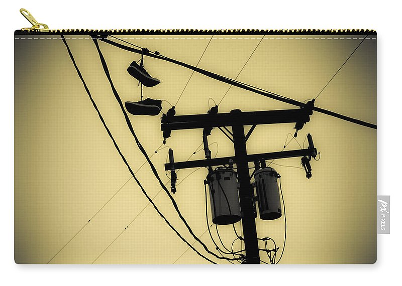 Telephone Pole Carry-all Pouch featuring the photograph Telephone Pole And Sneakers 1 by Scott Campbell