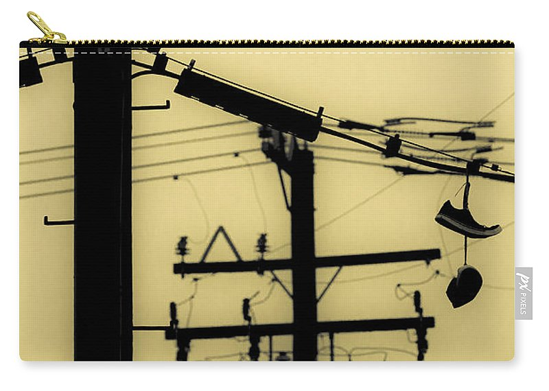 Telephone Pole Carry-all Pouch featuring the photograph Telephone Pole And Sneakers 5 by Scott Campbell