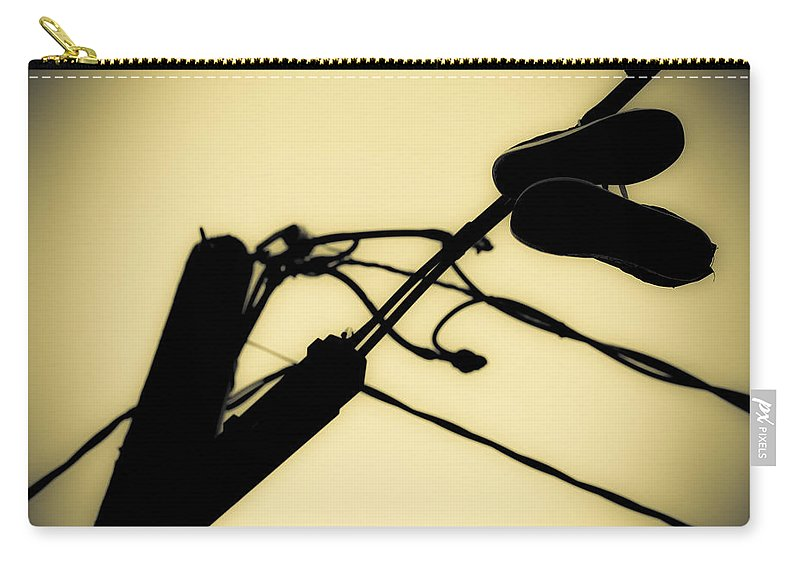 Telephone Pole Carry-all Pouch featuring the photograph Telephone Pole And Sneakers 6 by Scott Campbell