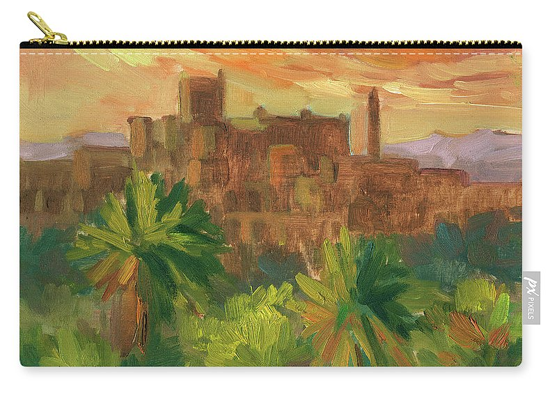 Telouet Carry-all Pouch featuring the painting Telouet Kasbah by Diane McClary
