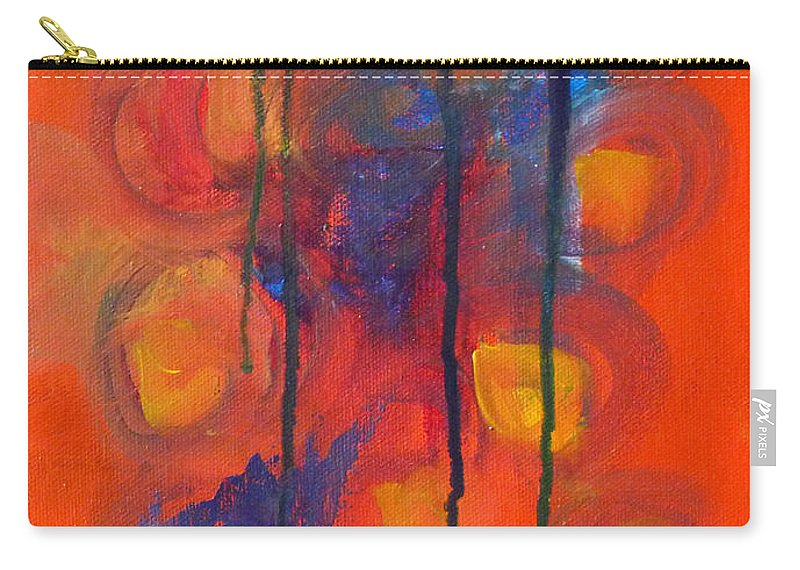 Red Orange Abstract Painting Carry-all Pouch featuring the painting Temper Tantrum by Nancy Merkle