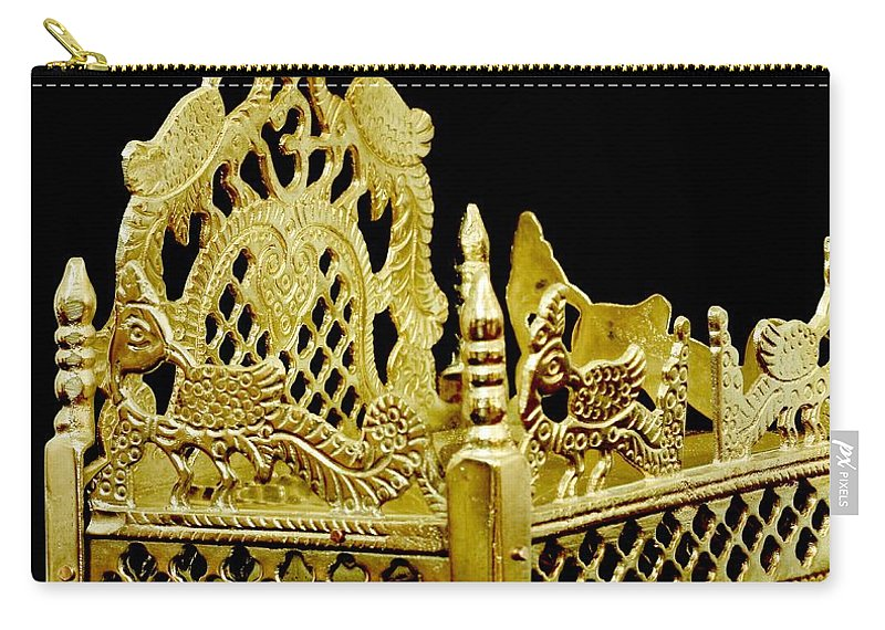 Brass Filigree Work Carry-all Pouch featuring the photograph Temple Art - Brass Handicraft by Ramabhadran Thirupattur