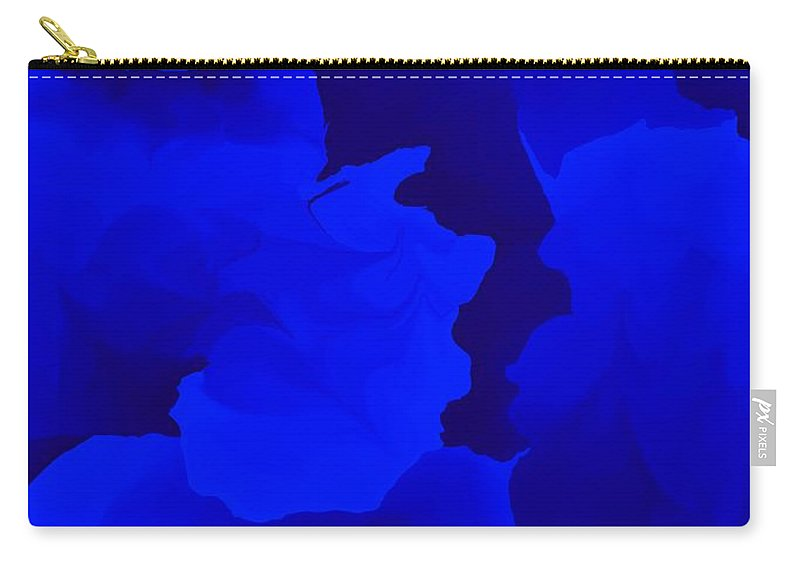 Fine Art Carry-all Pouch featuring the digital art Ten Minute Floral In Blue 122612 by David Lane