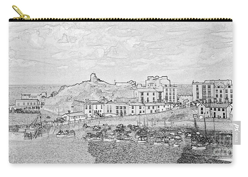 Tenby Carry-all Pouch featuring the photograph Tenby Harbor Panorama by Steve Purnell