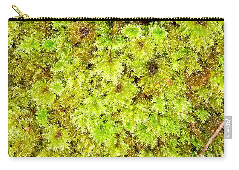 Abstract Carry-all Pouch featuring the photograph Tender Fresh Green Moss Background Texture Pattern by Stephan Pietzko
