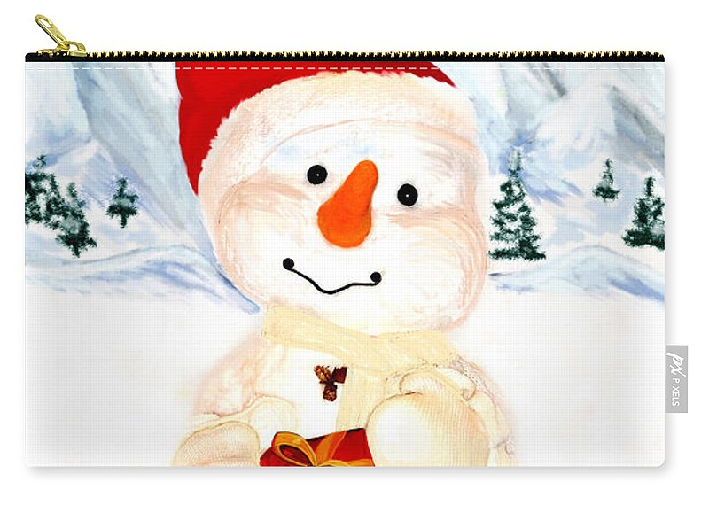 Christmas Carry-all Pouch featuring the painting Tender Snowman by Gina Dsgn
