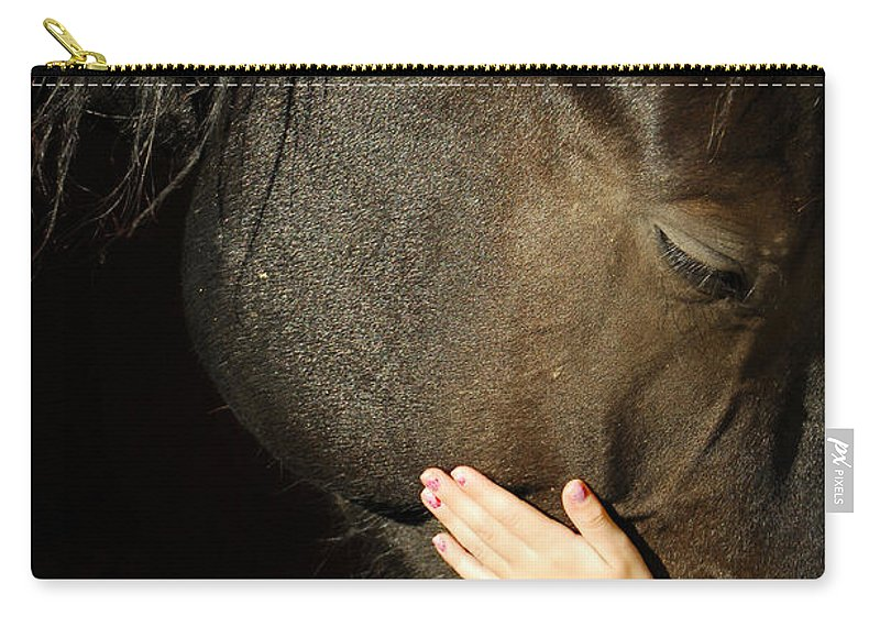 Horse Carry-all Pouch featuring the photograph Tenderness by Donna Blackhall