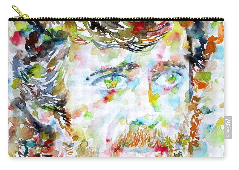 Terence Mckenna Carry-all Pouch featuring the painting Terence Mckenna - Watercolor Portrait.3 by Fabrizio Cassetta