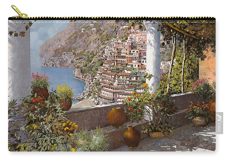 Positano Carry-all Pouch featuring the painting terrazza a Positano by Guido Borelli