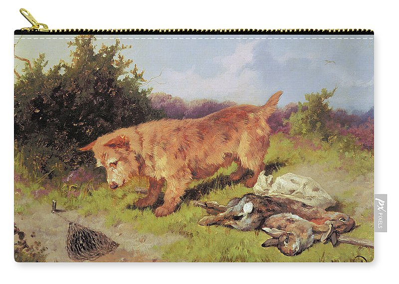 Dog Carry-all Pouch featuring the painting Terrier Watching A Rabbit Trap by Arthur Batt