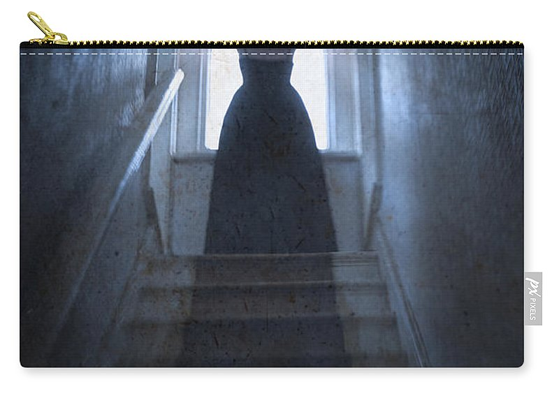 Woman Carry-all Pouch featuring the photograph Terrified Woman Alone by Lee Avison