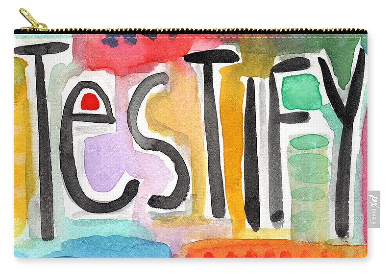 Testify Greeting Card Carry-all Pouch featuring the painting Testify Greeting Card- Colorful Painting by Linda Woods