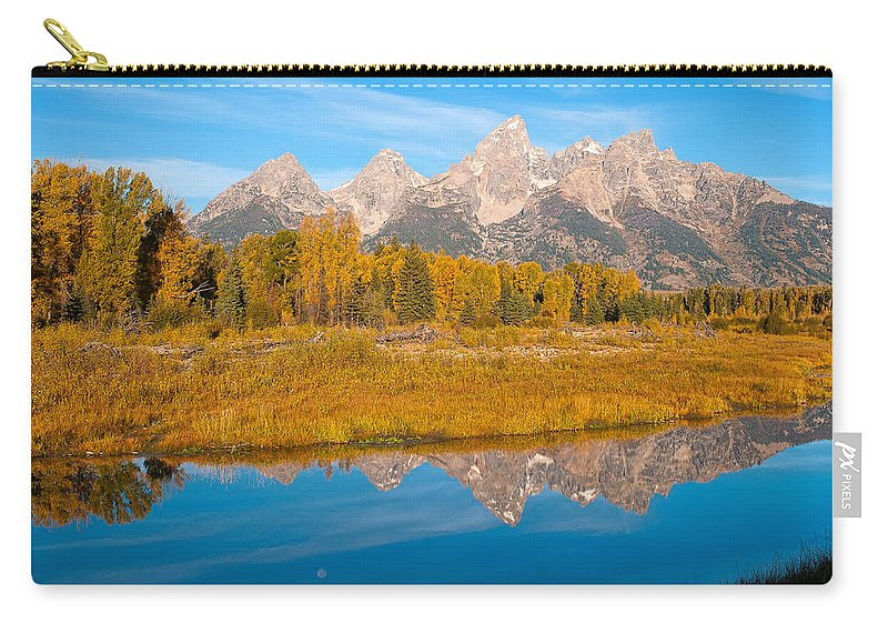 Grand Tetons Carry-all Pouch featuring the photograph Teton Moon by Steve Stuller