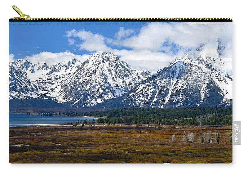 Tetons Carry-all Pouch featuring the photograph Teton Panorama I Center Panel by Greg Norrell