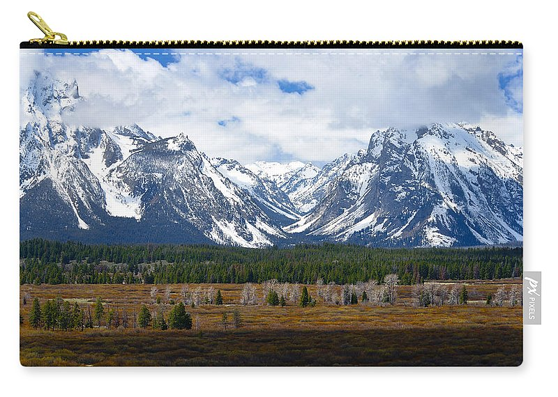 Tetons Carry-all Pouch featuring the photograph Teton Panorama I Right Panel by Greg Norrell