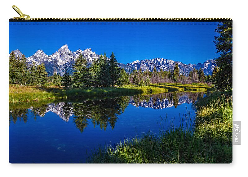 Teton Reflection Carry-all Pouch featuring the photograph Teton Reflection by Chad Dutson