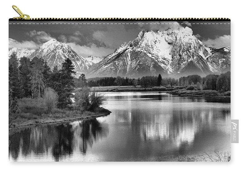 Tetons In Black And White Carry-all Pouch featuring the photograph Tetons In Black And White by Dan Sproul